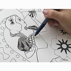 ゼンタングル パターンアート タングル 曼荼羅 デッサン シンデレラ アリエル ラプンツェル ベル オーロラ 白雪姫 スノーホワイト ジャスミン 鉛筆