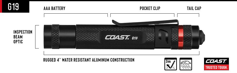 COAST G19 Inspection Beam LED Penlight with Adjustable Pocket Clip