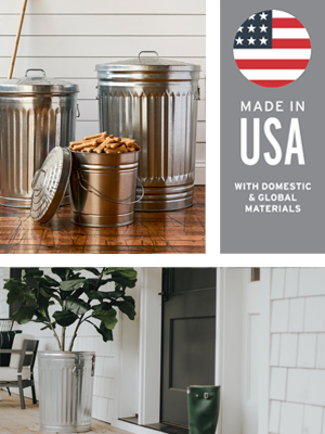 ash commercial container garden glavanized handle rustic seal silver stainless storage tin vintage