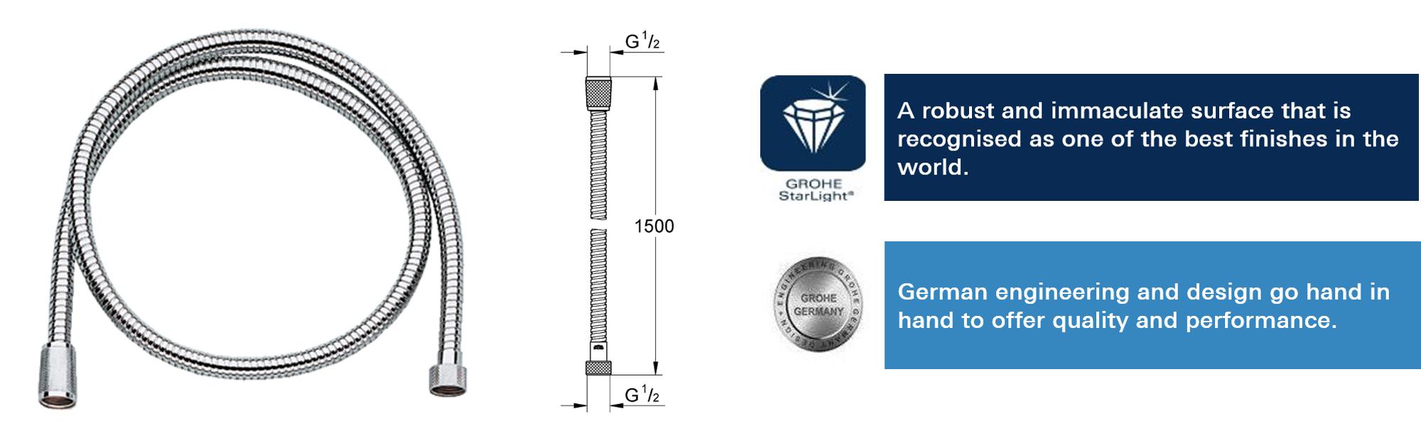 GROHE 28143000 | Ondus Metal Hose | 1500 mm: Amazon.co.uk: DIY & Tools