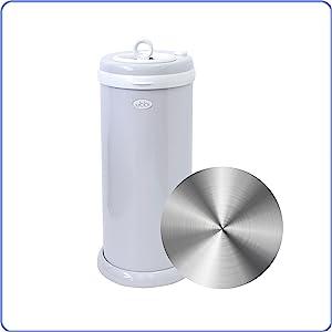 Ubbi diaper pail with steel icon next to it