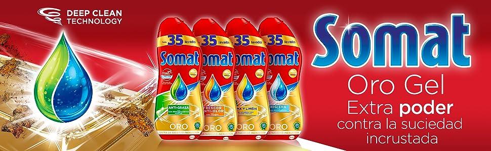 Somat Oro Gel Lavavajillas Limón - 50 Lavados (900 ml): Amazon.es ...