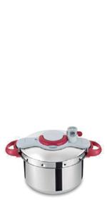 Tefal Clipso Minut Perfect - Olla a Presión de 6 L de Acero Inoxidable Roja con 5 Sistemas de Seguridad y Cierre Fácil Con Una Sola Mano con Cestillo Vapor Integrado,y Diámetro