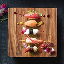 kyoto sushi board; sushi and sashimi; perfect sushi presentation; sushi board