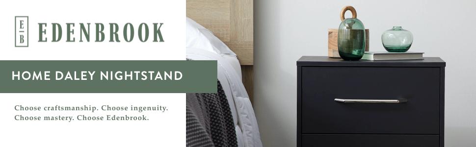 Edenbrook nightstand two-drawer nightstand black nightstand