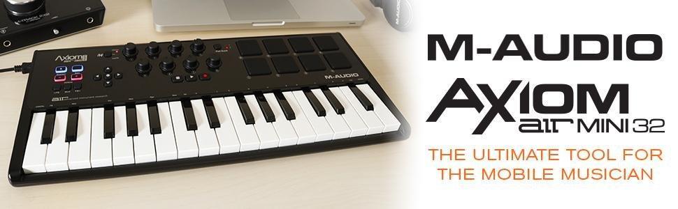 M-Audio Axiom Air Mini 32 - Clavier Maître MIDI 32 Touches Sensibles à la Vélocité et 8 Pads Sensibles avec Logiciels VIP 3, Ignite et Pro Tools Express, Noir