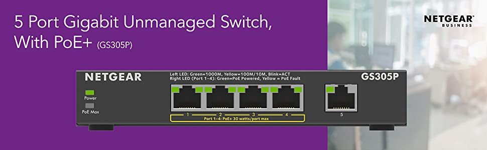 5 Port Gigabit Unmanaged Switch with PoE GS305P