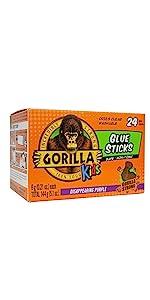 Gorilla Kids School Glue Sticks disappearing purple bulk pack