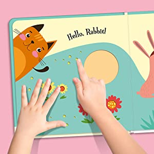 Open view of Peek-a-boo Little Cat! showcasing the touch and feel textures throughout the book.