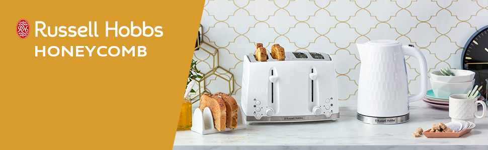 Russell Hobbs 26070 4 Slice Toaster - Contemporary Honeycomb Design, White