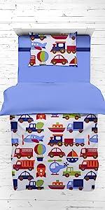 Bacati - Transportation Blue 4 Piece Boys Toddler Bedding Set 100 Percent Cotton