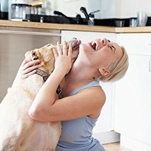 A woman playing with her happy, well-nourished dog
