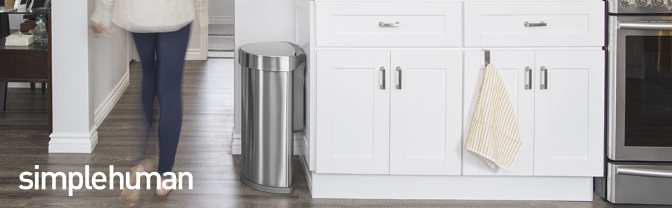 simplehuman 30L Rectangular Step Trash Can with Liner Pocket, Rose Gold, with 60 pack custom fit liner code F