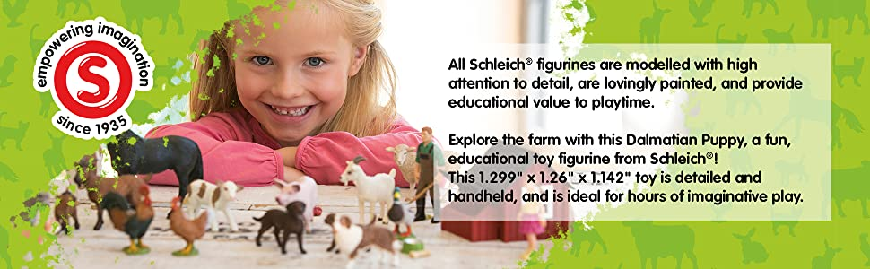 3 to 8 Years SCHLEICH Farm World Dalmatian Dog Puppy Toy Figure 16839