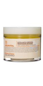 Agua perfumada · Manteca corporal regenerante con Karite · Gel integral · Exfoliante corporal