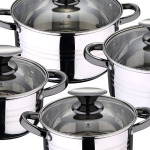 San Ignacio - Batería de cocina 4 cacerolas 4 tapas de vidrio 1 ...