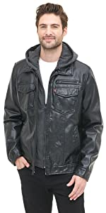 Faux-Leather Two-Pocket Trucker Hoodie Jacket with Sherpa Lining