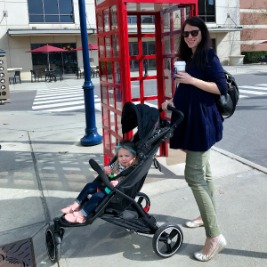 one child in lightweight and compact dot stroller