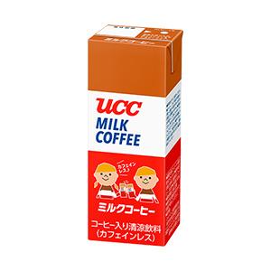 UCC,ミルクコーヒー,カフェインレス,デカフェ,加糖,微糖,低糖,砂糖,牛乳,カフェラテ,定番,まろやか,甘み,缶コーヒー,紙パック,ペットボトル