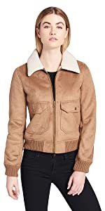 Faux Leather Sherpa Aviator Bomber Jacket