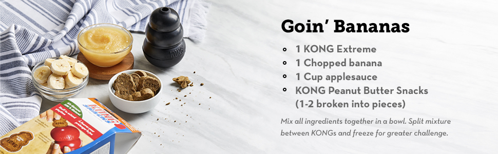 kong extreme recipe with banana and peanut butter snacks