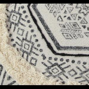 7 W x 18 H White Deco 79 23420 Boho-Themed Round Cotton Pillow Black