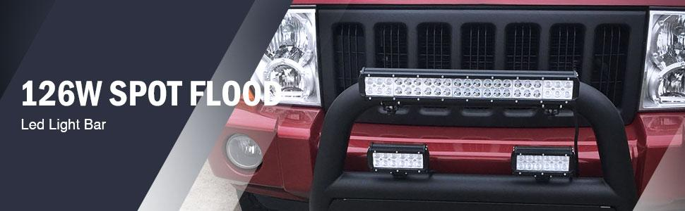 Led Light Bar Nilight 20 Inch 126w Led Work Light Spot Flood Combo Led Bar Off Road Lights Driving Lights Led Fog Light Jeep Lights Boat Lighting 2
