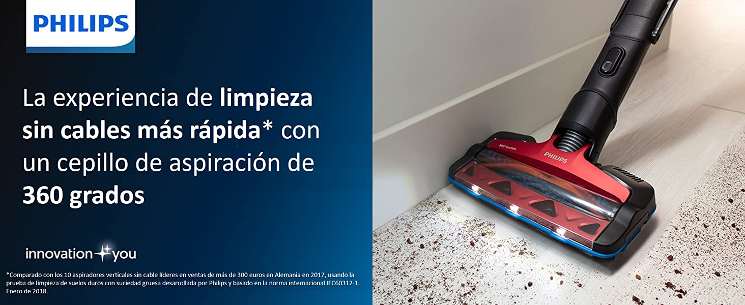 Philips FC6823/01 Speedpro Max - Escoba Aspiradora vertical de mano sin cable, 25.2 V, 65 min autonomía, Succión 360º, luz Led, con cepillo especial para mascotas incluido: Amazon.es: Hogar