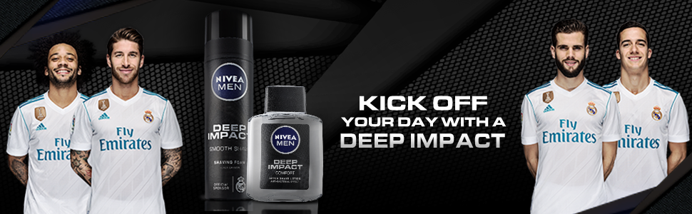 DEEP IMPACT  AFTER SHAVE LOTION bottle with official sponsors Real Madrid