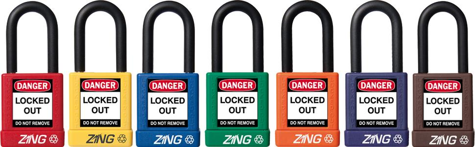 3 Pack 3 Long Body Red Keyed Alike,1-1//2 Shackle ZING 7086 RecycLock Safety Padlock