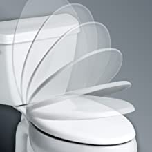 no pinched fingers, pinching slam, quiet,soft, close, slow, easy close, whisper, toilet seat