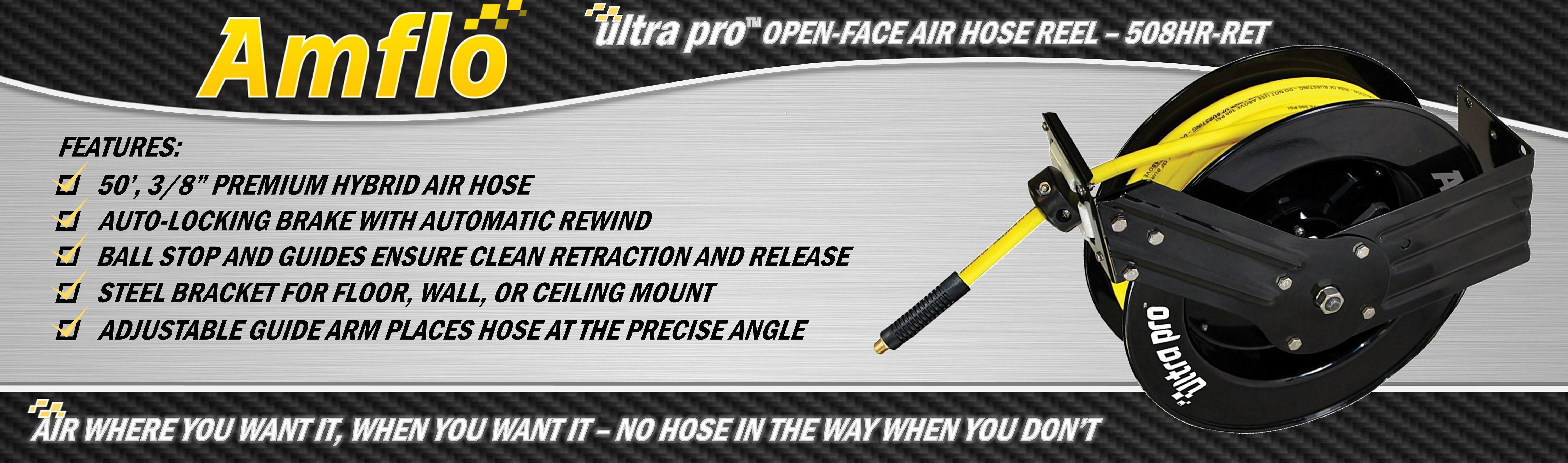 Amflo 508HR-RET 50 ft 50 x 3//8 Ultra Pro Open-Face Hybrid Hose Reel