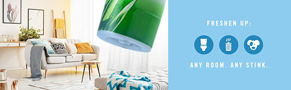 Freshen up any room. Bathroom odors. Trash odors. Pet odors Living room odors