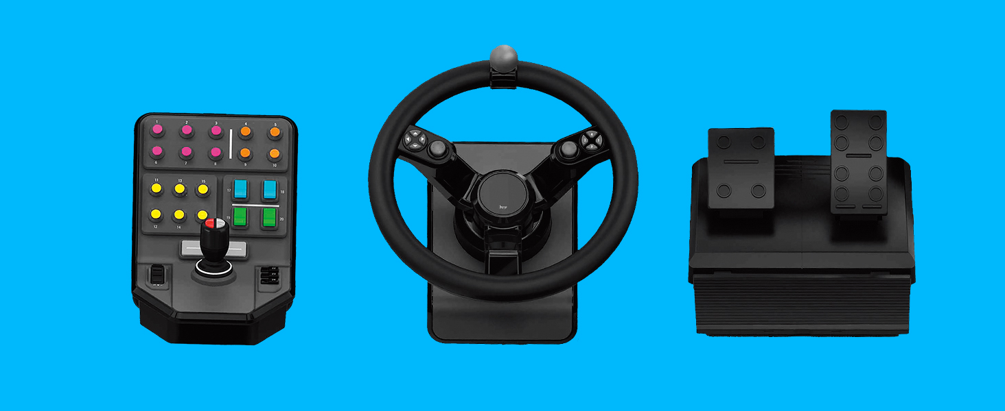 Logitech G Farm Simulator Heavy Equipment Bundle (2nd Generation), Steering  Wheel Controller for Farm Simulation 19 (or Older), Wheel, Pedals,