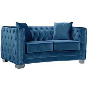 Meridian Furniture 648GRY-S Reese Collection Modern | Contemporary Grey Velvet Sofa with Button Tufted Square Arms, Chrome Nailhead Trim and Legs, ...