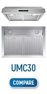 UMC30, under cabinet, range hood, stainless steel, digital timer, lcd screen, led lights, 30 inch