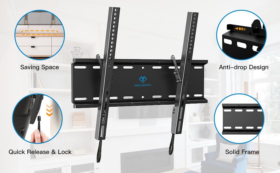 Black Tilting Wall Mount Bracket for Samsung HP-T5054 Plasma 50 inch HDTV TV