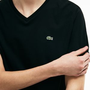 ff183ffb8b Amazon.com  Lacoste Men s Short Sleeve V Neck Pima Jersey T-Shirt ...