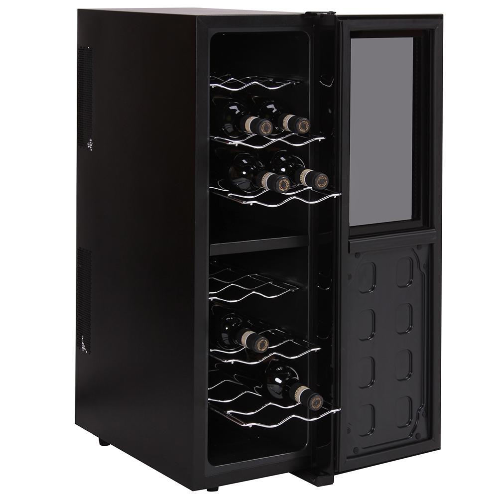 amstyle weink hlschrank slimline 2 temperaturzonen klima zonen schwarz 45 liter 16 flachen. Black Bedroom Furniture Sets. Home Design Ideas