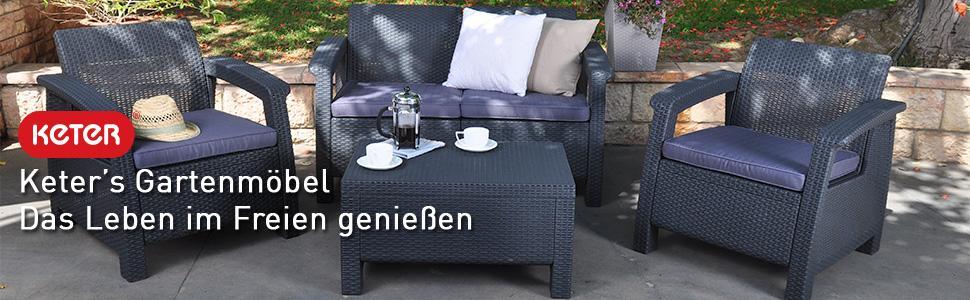 Amazon De Keter Lounge Set Rattan Korfu Eck Set Graue Lounge
