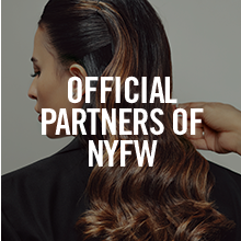 Image of a woman with text reading: OFFICIAL PARTNERS OF NYFW