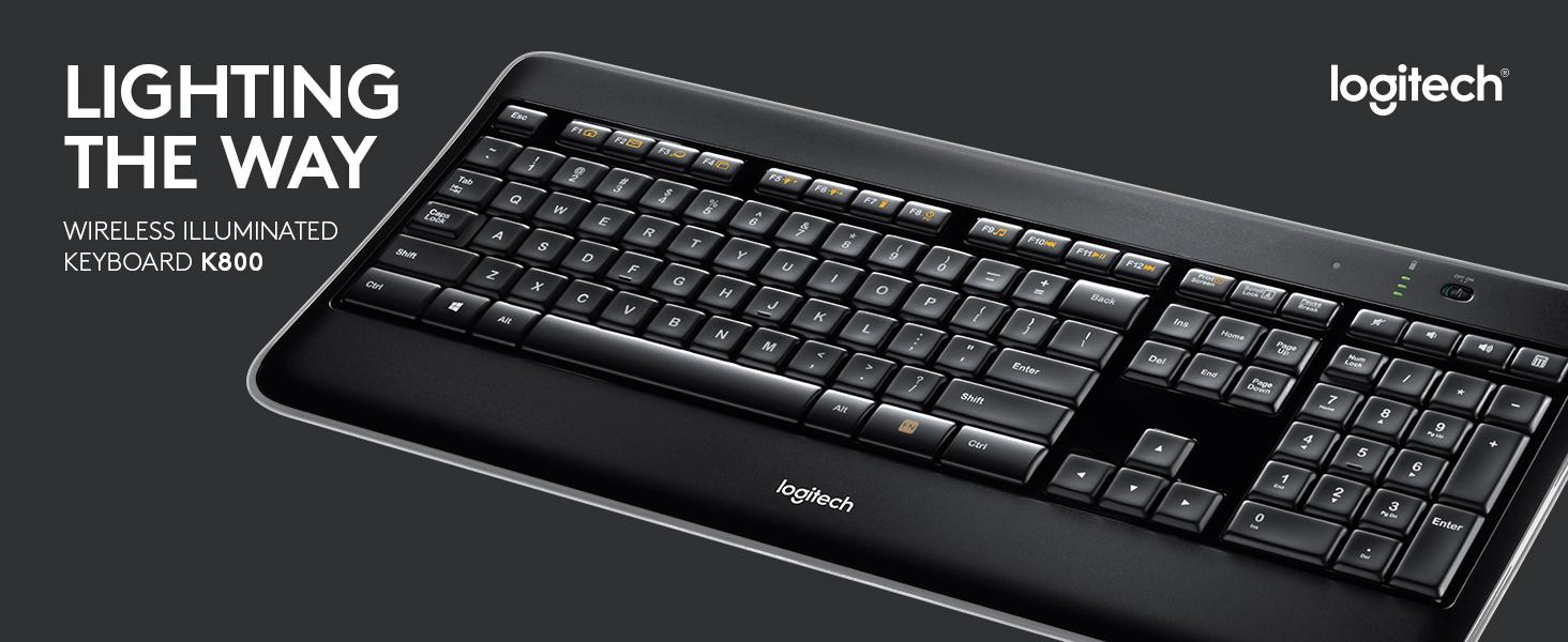 dcd0048cbce Amazon.com: Logitech K800 Wireless Illuminated Keyboard — Backlit ...