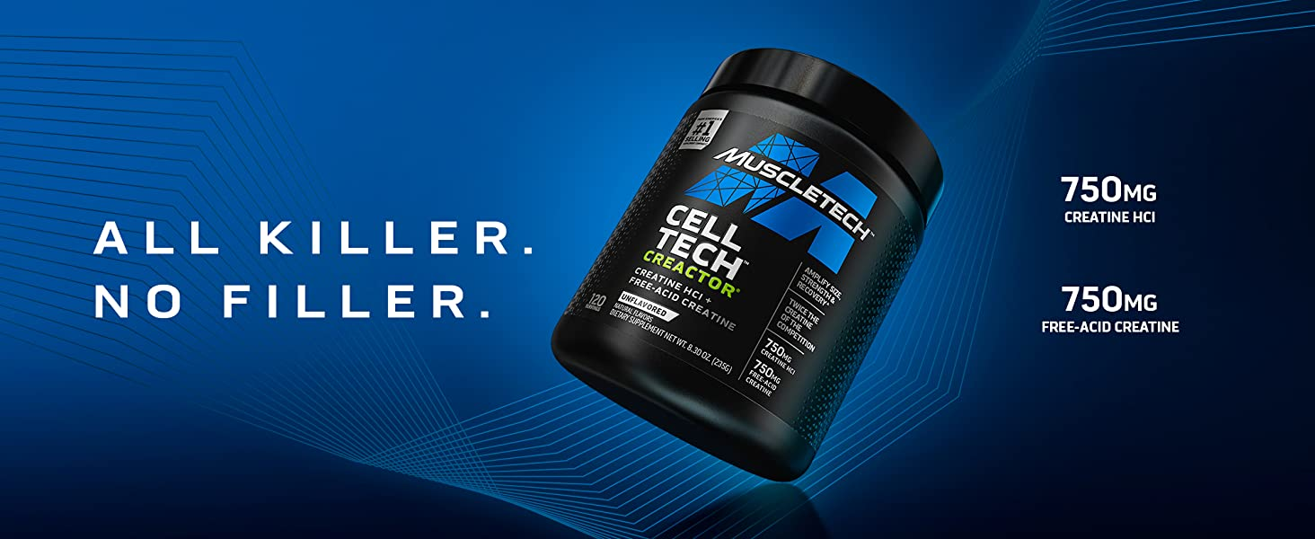 Amazon.com: Creatine Powder   MuscleTech Cell-Tech Creactor Creatine HCl Powder   Post Workout Muscle Builder for Men & Women   Creatine Hydrochloride + Free-Acid Creatine   Unflavored HCl Creatine (120 Servings) : Health & Household