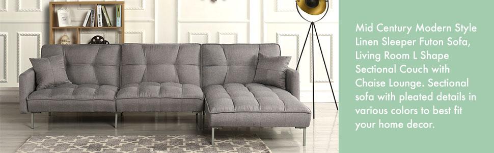 Amazon Com Casa Andrea Exp401 Fb Modern Linen Fabric Futon