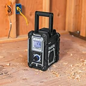 black radio portable carry handle jobsite construction party