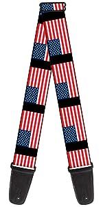 American America Flag United States USA Red White Blue Classic Guitar Strap