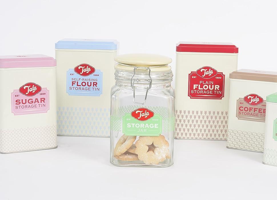 Flour Storage Plain /& Self Raising Retro Style Tins Containers Kitchen Canister