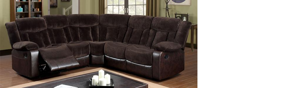 Amazon.com: Muebles de América Patton Seccionales 2-recliner ...