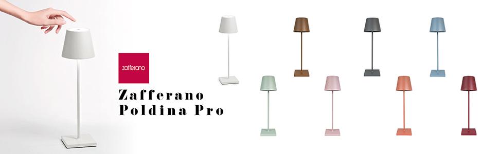 Zafferano, Poldina Pro, Lampe de table LED, intérieure/extérieure, Base de chargement par contact