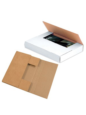 Easy fold mailers fit books, catalogs, and other flat items